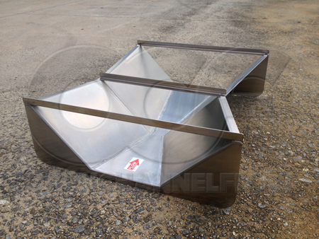 inlet view of stainless steel 6-inch Trapezoidal Cutthroat flume