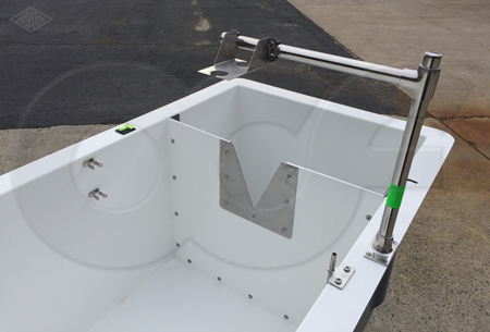 custom weir box with an ultrasonic mounting bracket - probe clips - and sample tube