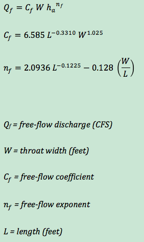 free-flow equation for custom Cutthroat flumes