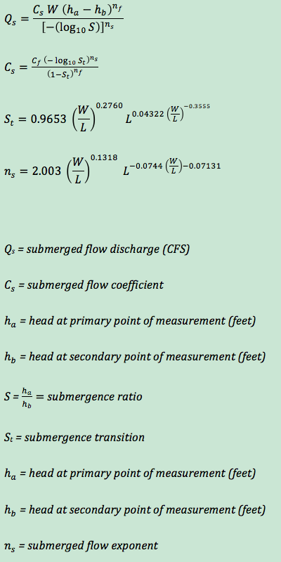 submerged flow equations for custom Cutthroat flumes