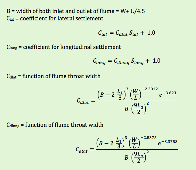 terms used to determine corrections for Cutthroat flume settling