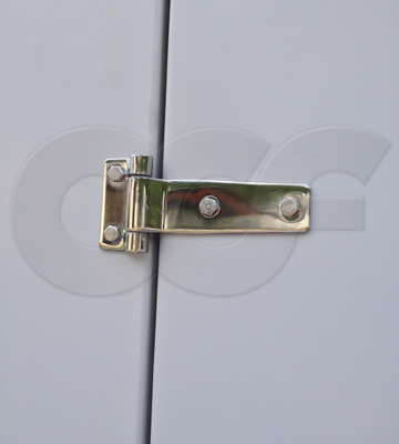 close up of a strap hinge mounting a door on an Openchannelflow fiberglass equipment shelter & Door Mounting Hardware for Fiberglass Equipment Shelters