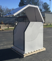 Gemini fiberglass equipment enclosure manufactured by Openchannelflow