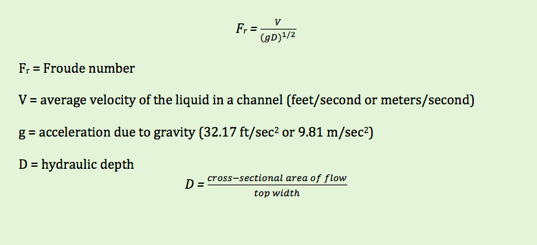 Calculating Channel Froude Numbers for Flumes and Weirs