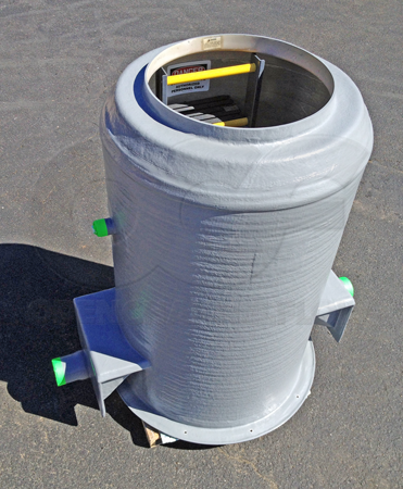 FRP H-20 Packaged Metering Manhole with a factory integrated Extra Large 60º Trapezoidal Flume