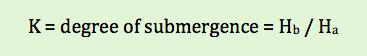 parshall flume degree of submergence equation