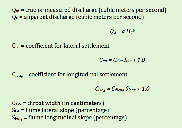 parshall flume settlement equation terms