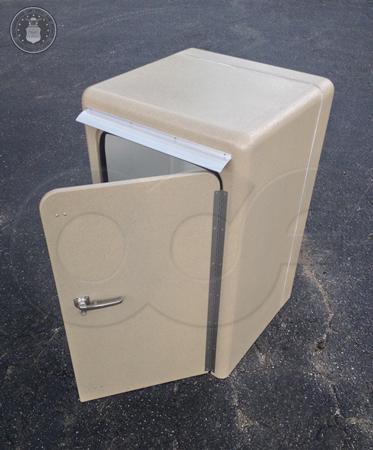 custom fiberglass sampler enclosure with door open
