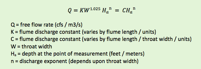 cutthroat flume discharge equation