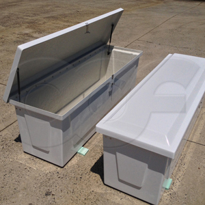 (2) Redstone Fiberglass Equipment Enclosures showing both the open and closed profiles