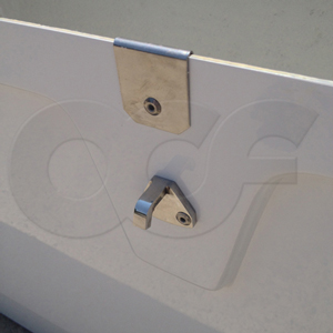 stainless steel draw down lockable hasp on an Openchannelflow Redstone Series 66 Fiberglass Equipment Enclosure