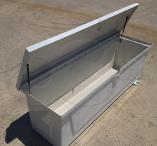 Openchannelflow Redstone Series 66 Fiberglass Equipment Enclosure - open and showing lid support gas struts and lockable hardware