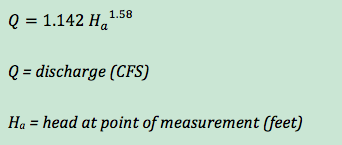 Discharge equation (in CFS) for USGS 3-inch Portable Parshall Flume