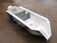 removable perforated baffle plates in a fiberglass H flume