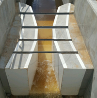 nested fiberglass Parshall flumes from Openchannelflow
