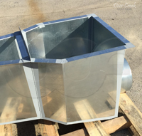 Galvanized steel end adapter on Openchannelflow Parshall flume