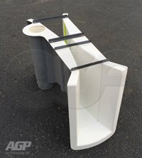 Staged manhole end adapter on fiberglass Parshall flume manufactured by Openchannelflow
