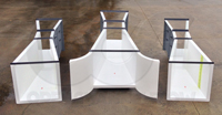 radius inlet wing walls on an Openchannelflow fiberglass Parshall flume - center