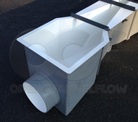 inlet end adapter with pipe stub on an Openchannelflow fiberglass Parshall flume