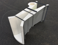 Staged - curved - manhole transitions on a fiberglass 3-inch Parshall flume