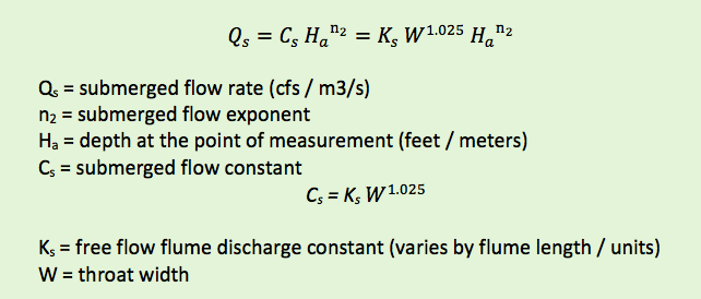 submerged flow discharge equation for Rectangular Cutthroat flume