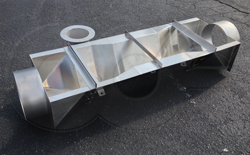 Openchannelflow Stainless Steel extra large Trapezoidal Flume with end adapters - pipe stubs - and stilling well