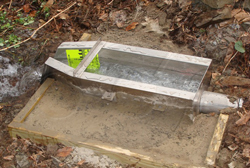 Openchannelflow Stainless Steel H Flume with approach section - inlet stub - staff gauge