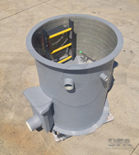 fiberglass open top packaged metering manhole manufactured by Openchannelflow integrating a Parshall flume