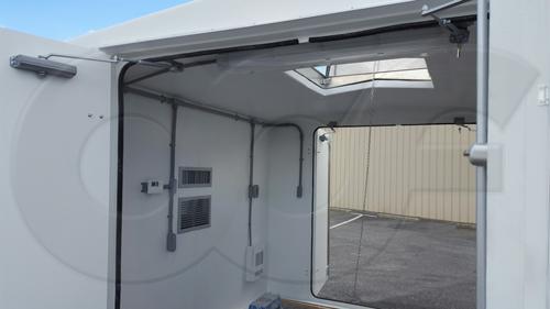 roof hatch mounted on a fiberglass building