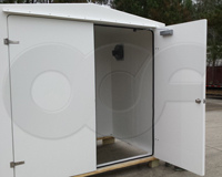 double doors on a fiberglass equipment shelter manufactured by Openchannelflow