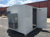 1 ton Bard air conditioner mounted on an Openchannelflow fiberglass equipment shelter