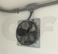 exhaust fan in a fiberglass equipment shelter manufactured by Openchannelflow