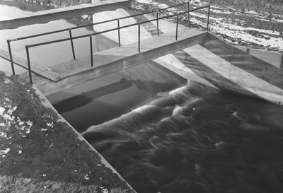 20-foot concrete parshall flume measuring flow on the Holbrook Canal