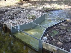 galvanized steel cutthroat flume measuring irrigation flows
