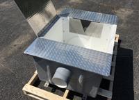 hinged aluminum cover over a fiberglass weir box