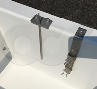 prober holder - right - mounted in a fiberglass weir box manufactured by Openchannelflow