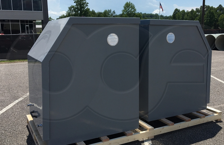 Gemini fiberglass sampler enclosures in grey
